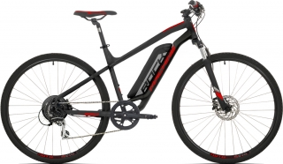 Elektrokolo Rock Machine Cross e350 +bat.504 Wh, mat black/silver/brick red 2019