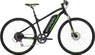 Elektrokolo Rock Machine Cross e350 +bat.504 Wh, mat black/silver/neon green 2019
